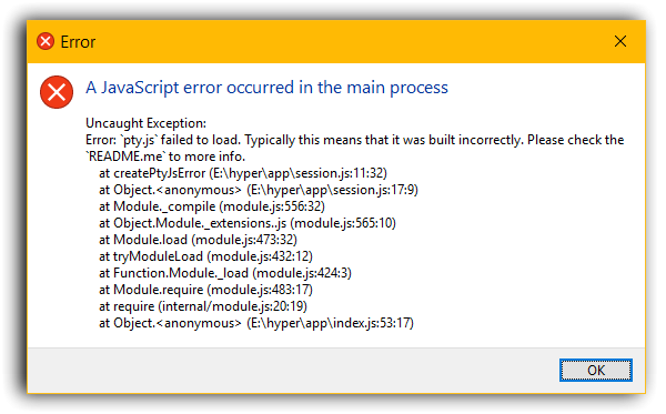 Bug][Windows] pty js failed to load · Issue #1027 · zeit