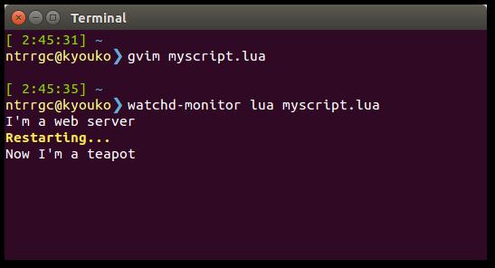 Screenshot of a terminal using watchd-monitor