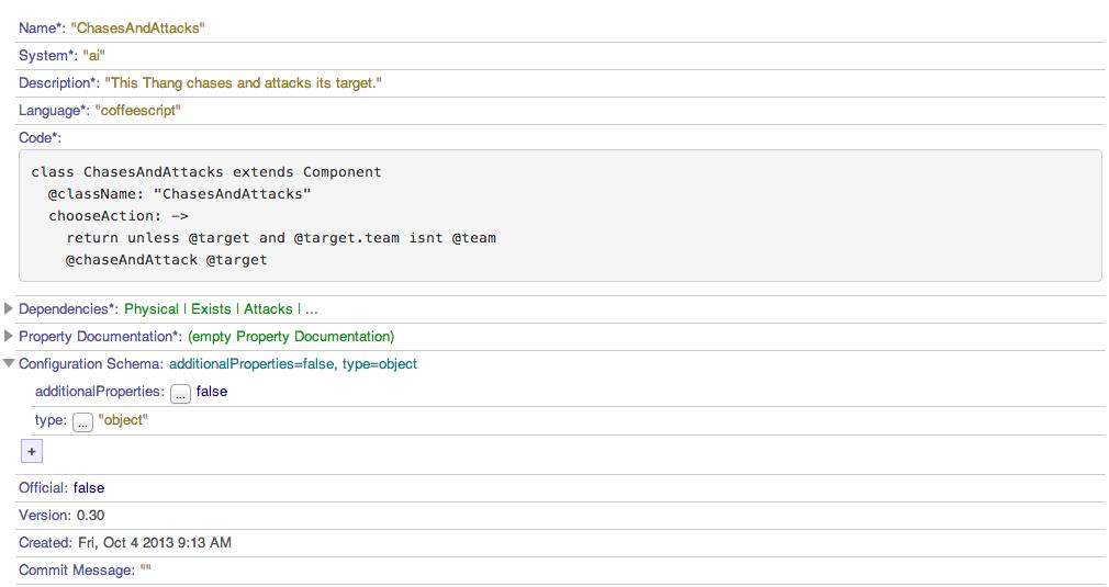 Treema for the LevelComponent schema