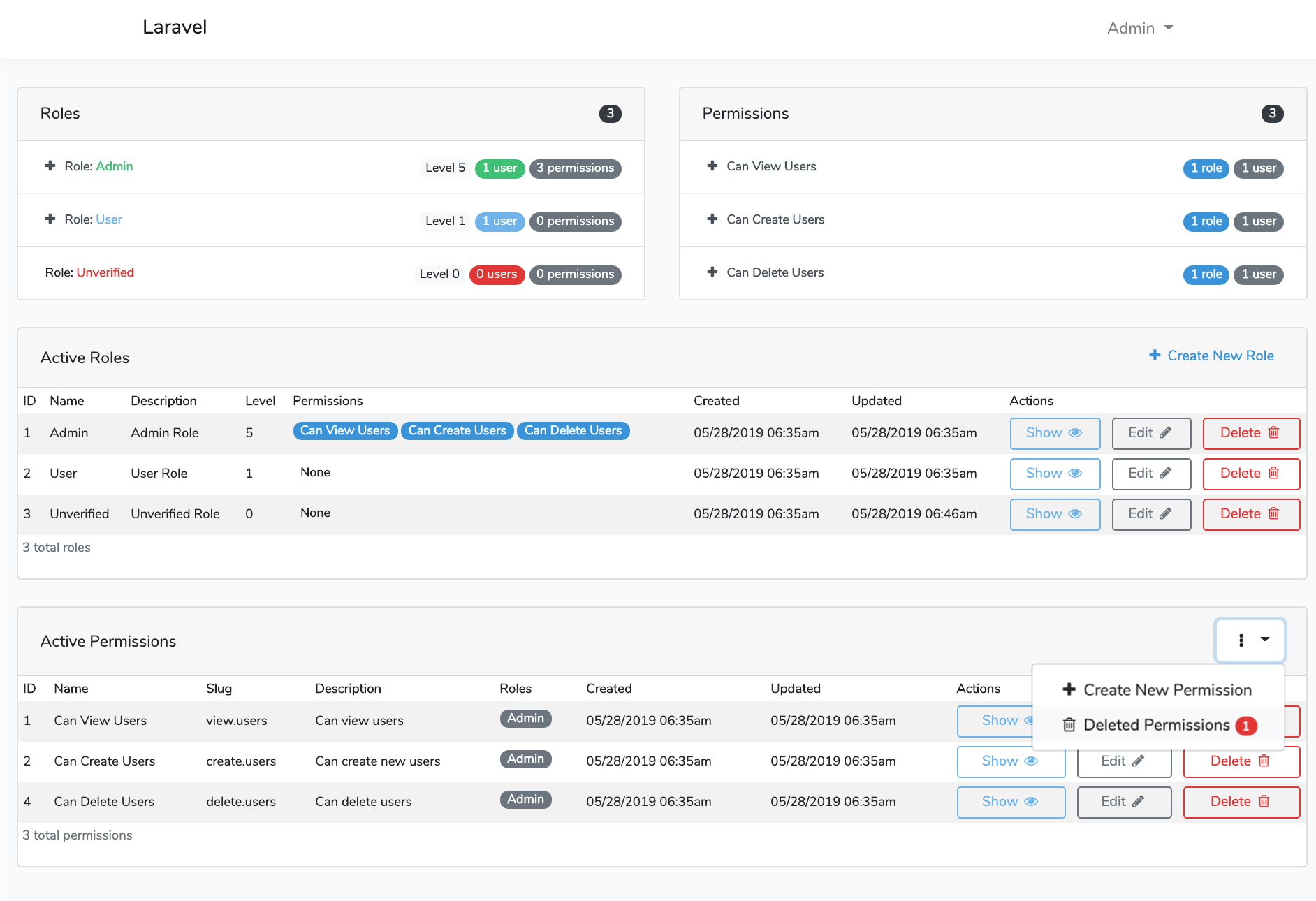 Laravel Roles GUI Permissions Dashboard