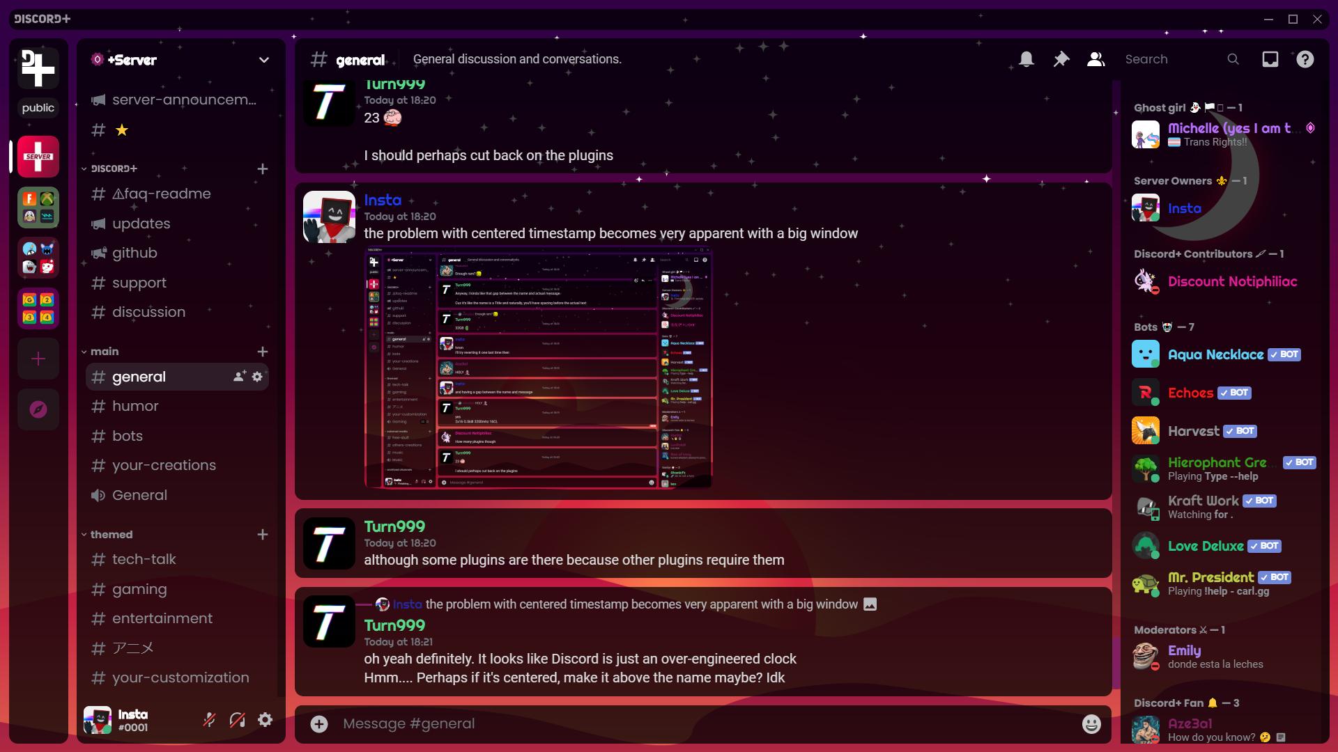 Screenshot of Discord+ in dark theme