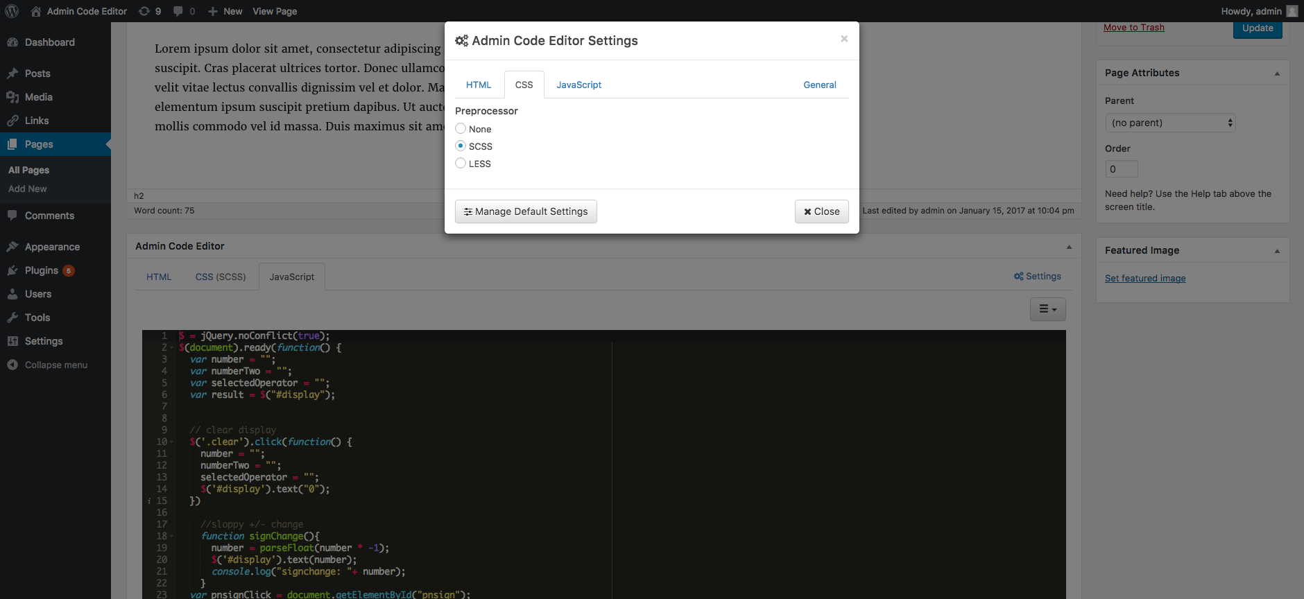Settings modal window with the CSS tab active.