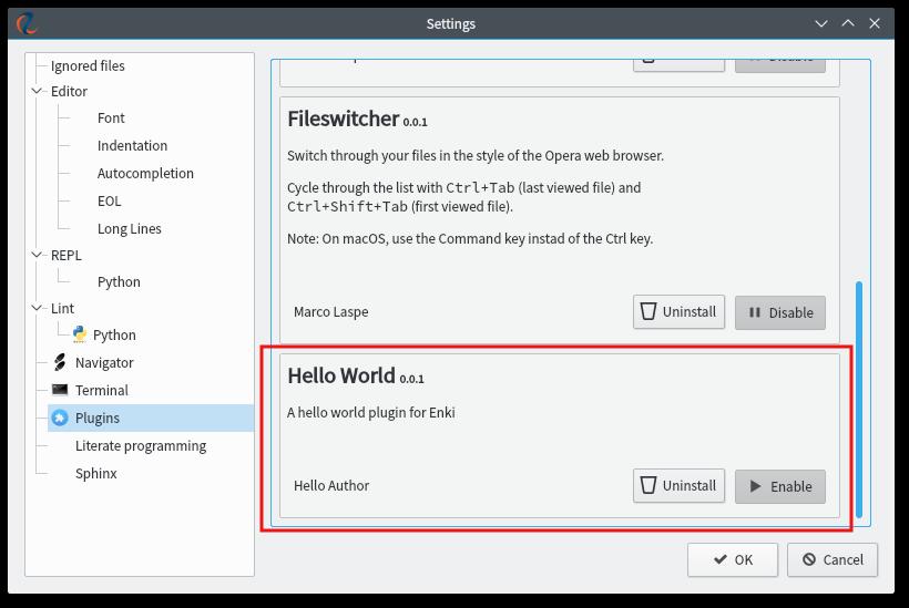Hello World plugin in pluginmanager