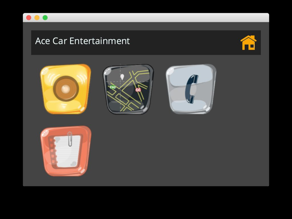 The dashboard with some apps