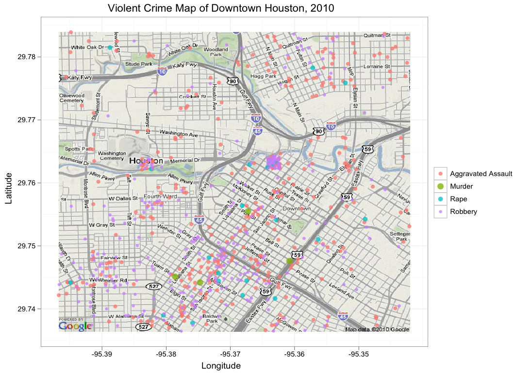 Crime In Downtown Houston Texas Combining Ggplot And Google - Houston map crime rate