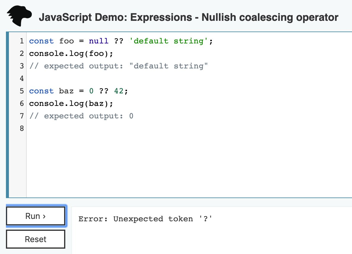 Javascript Demo editor does not recognize nullish coalescing ...
