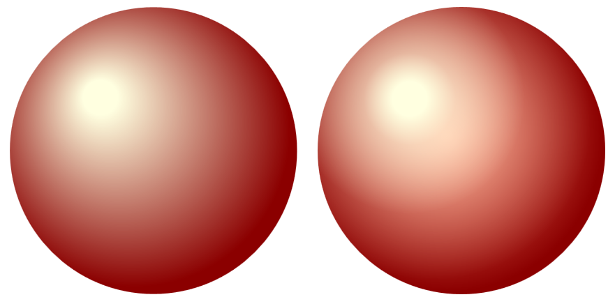 Two spherical shapes with a lighting effect, one of them much more smoothly lit than the other.