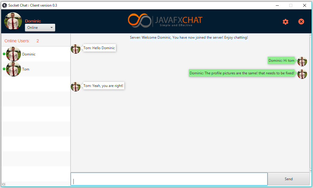 GitHub - DomHeal/JavaFX-Chat: JavaFX Socket Multithreaded Chat