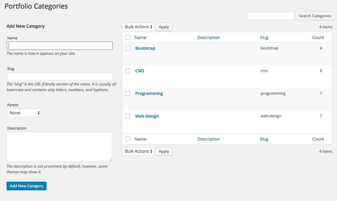 Fancy Grid Portfolio custom taxonomy view