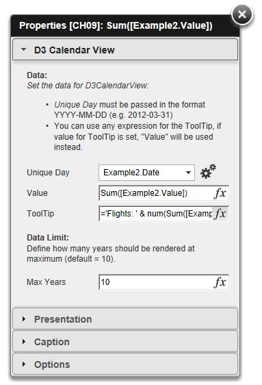 Configuration Dialog for D3CalendarView QlikView Extension
