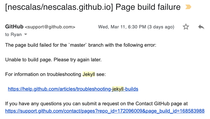 """screenshot of """"Build failed"""" email from github-pages about a failed Jekyll build"""