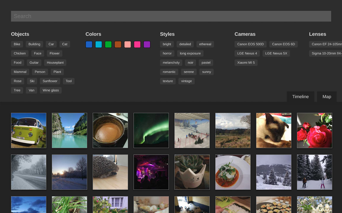 Screenshot of photo list view
