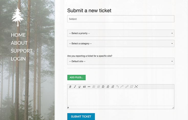 Beautiful front end support form integration.