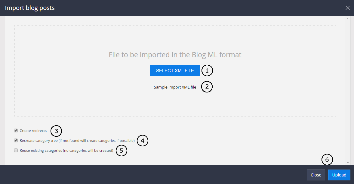 Blogs import - 1 step