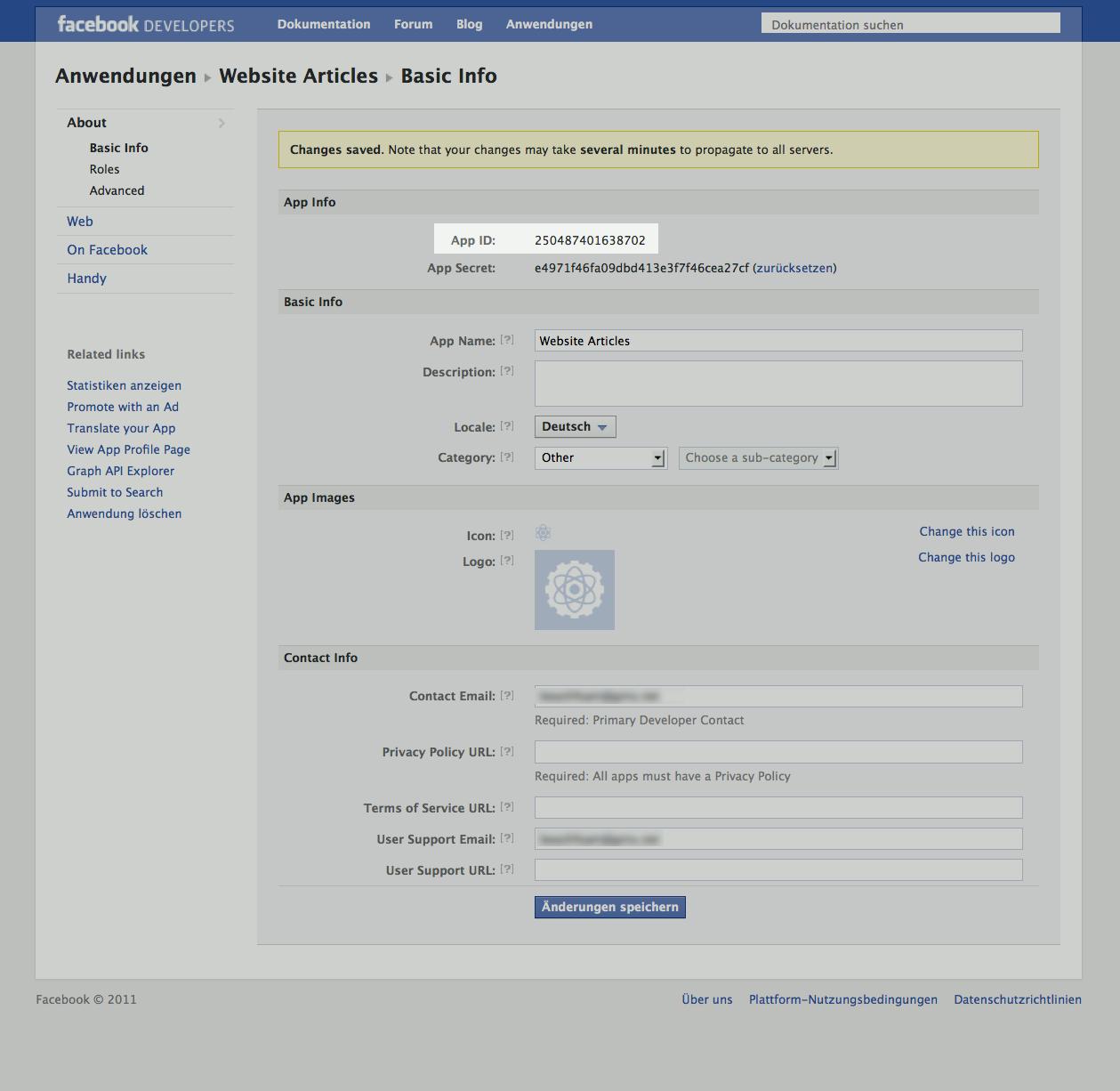 Facebook app registration step 2