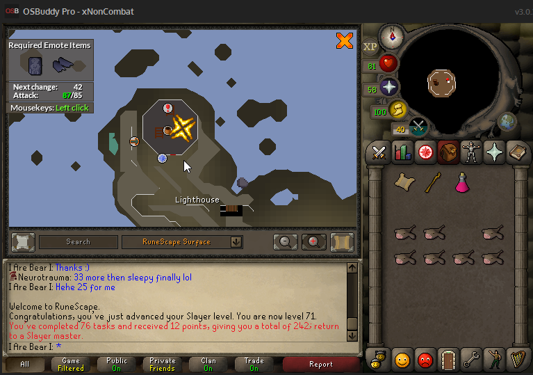 Clue scroll : Bow at the top of the lighthouse. Beware of double ...