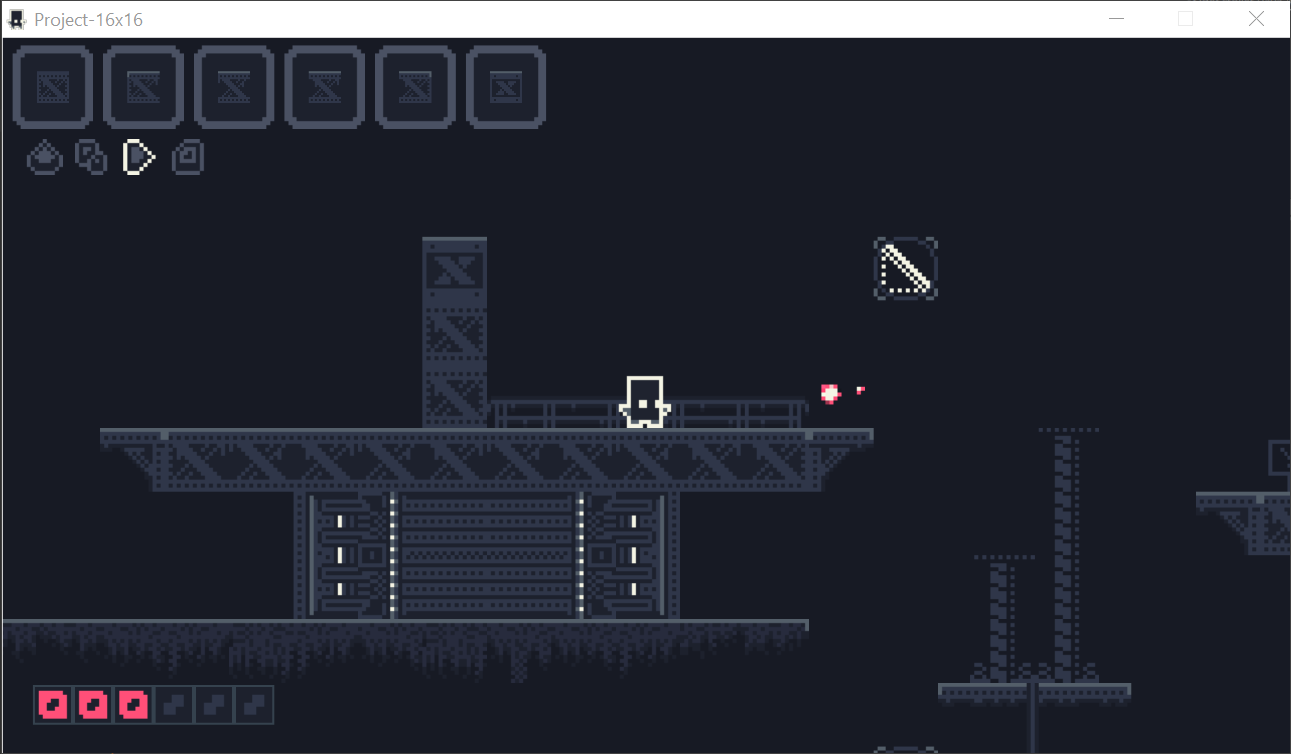 Showcasing how the in game looks like. In top left the player has 6 slots to hold items within the editing system. Four buttons, edit, inventory, play, save