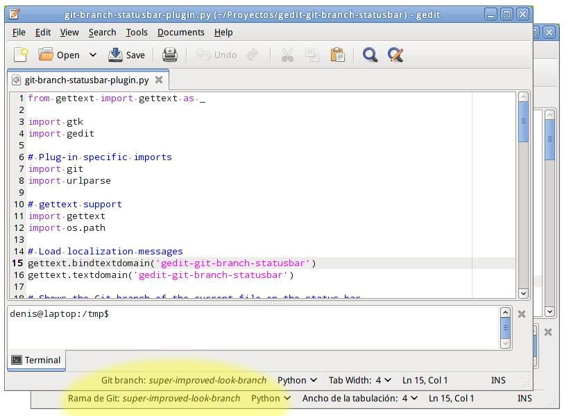 gedit screenshot with git branch on status bar