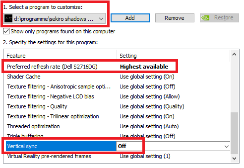 Preferred refresh rate Highest available and Vertical sync Off