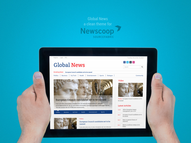 Global News Theme frontpage in different devices