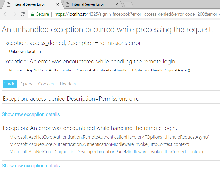 Exception on cancelled external login · Issue #1824 · aspnet