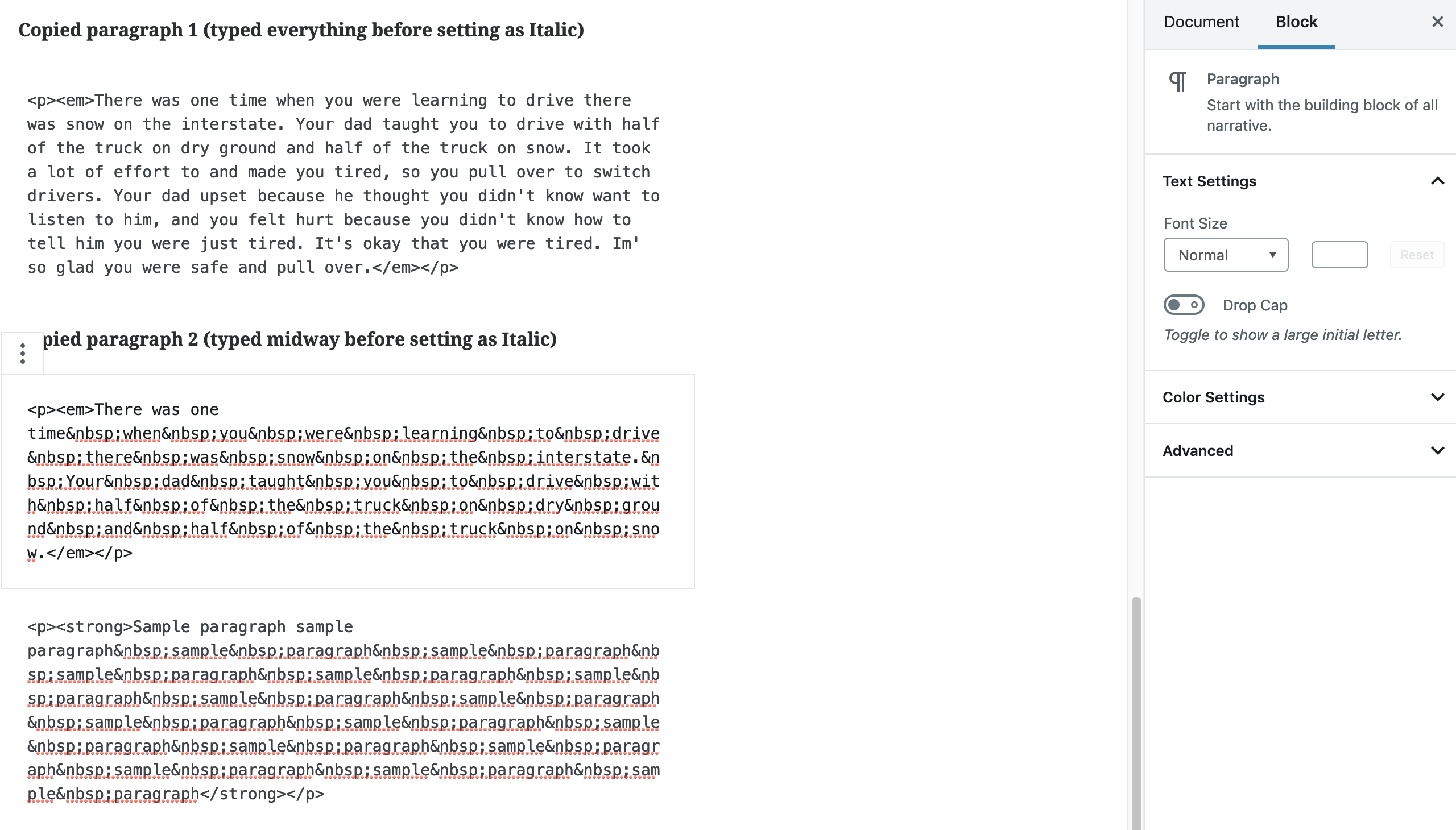 Gutenberg: Typing Space in Bold and Italic turns into
