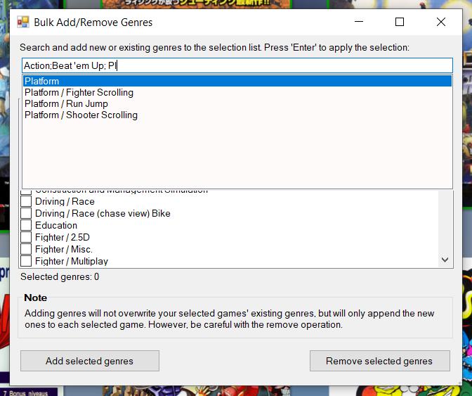Bulk Add/Edit Genres search box