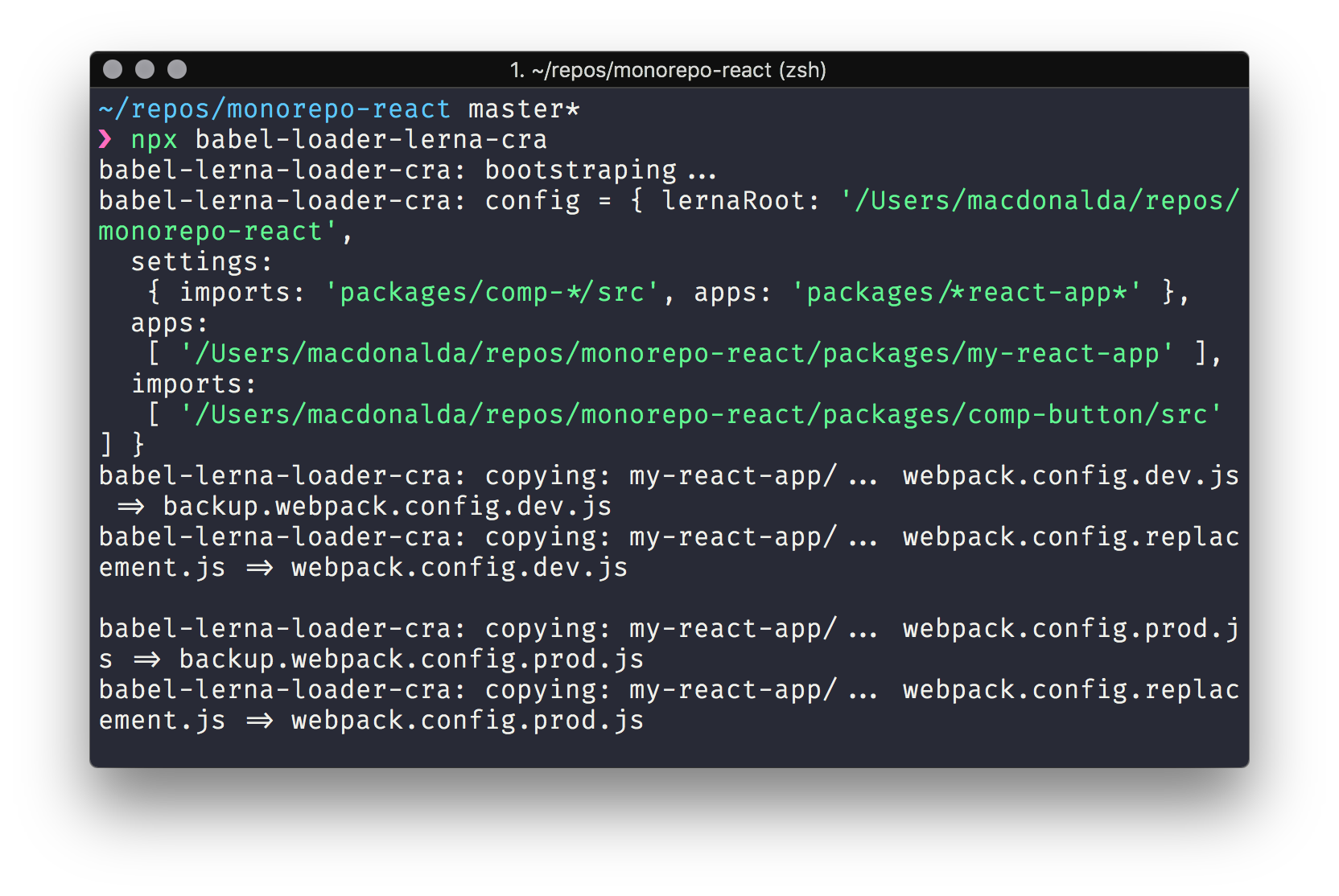 Screenshot of babel-loader-lerna-cra bootstrapping Create-React-App's Webpack config in the CLI