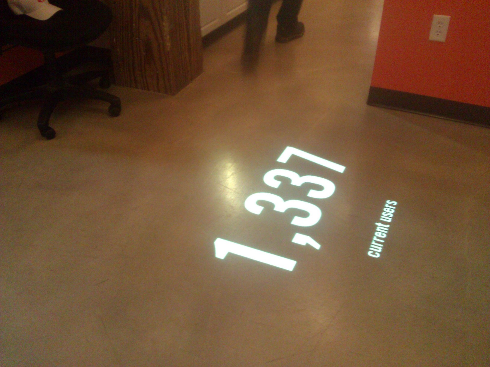 Current Users projected onto a floor
