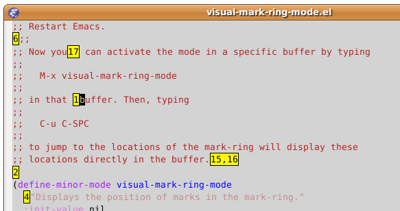 Screenshot of visual-mark-ring-mode