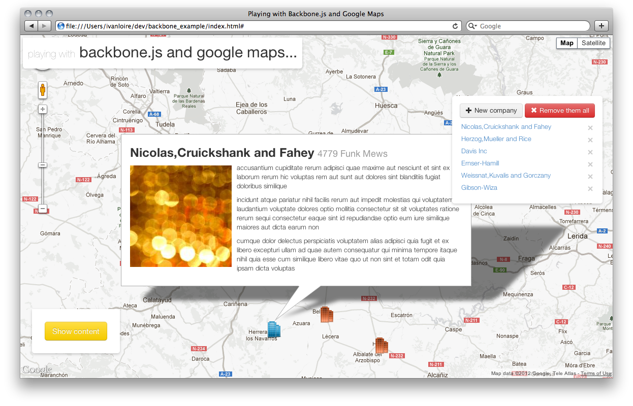 Backbone.js with Google Maps demo