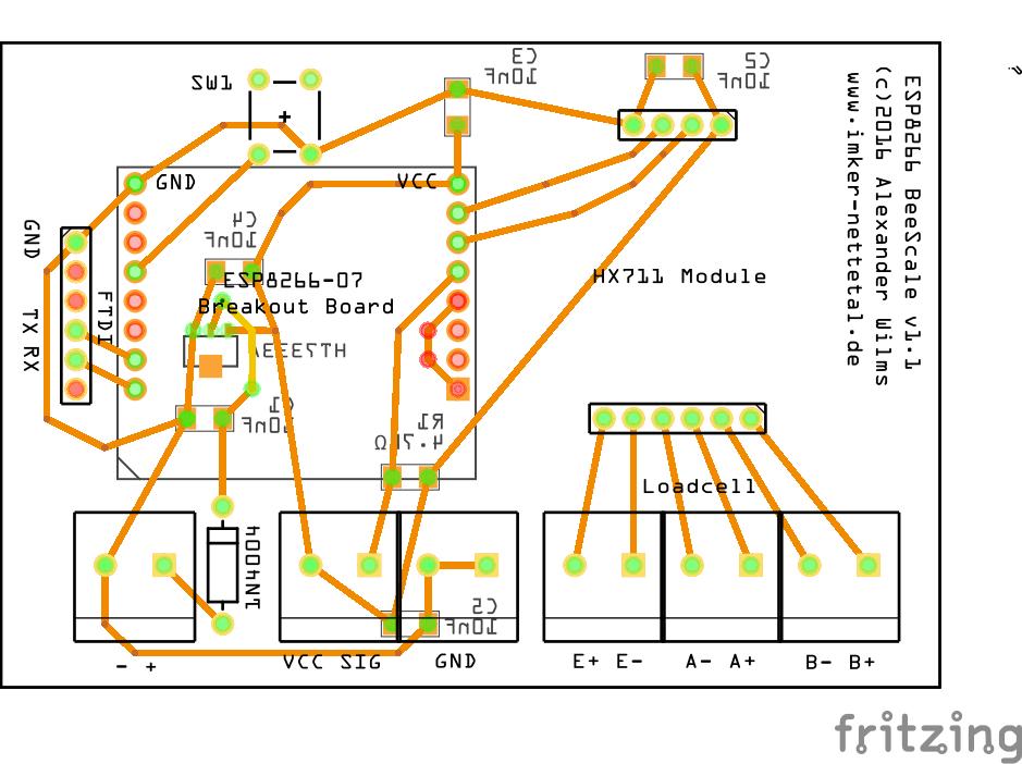 ESP8266 BeeScale PCB - schematics - top view