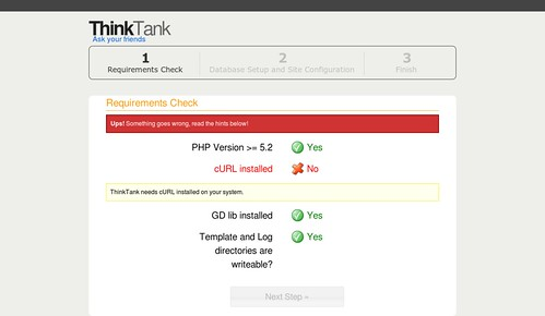 ThinkUp :: Requirements Check Error cURL
