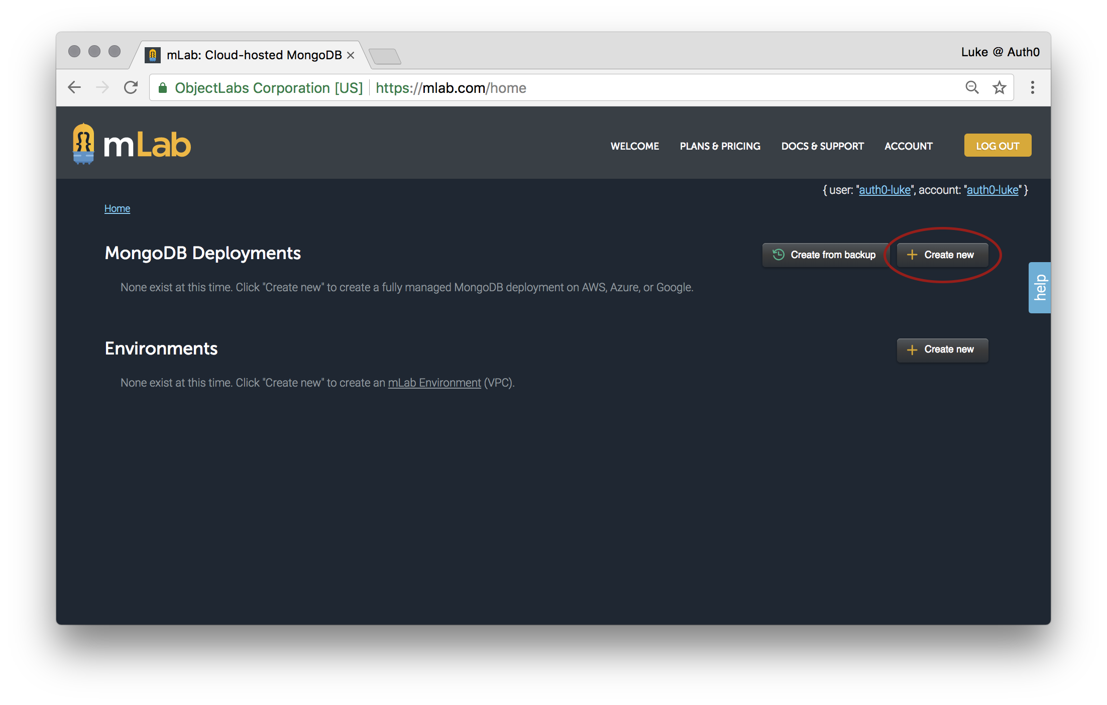 Click Create New in the MongoDB Deployments section