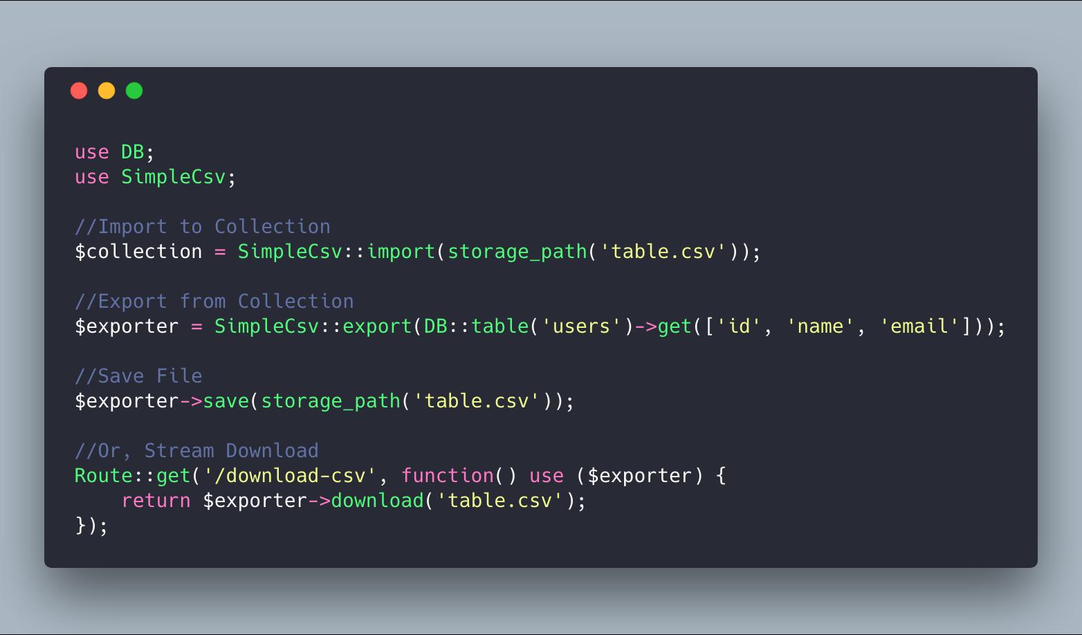 GitHub - bayareawebpro/laravel-simple-csv: A simple CSV importer