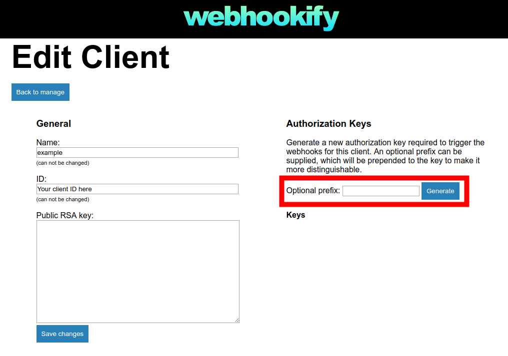 Webhookify Edit Client view auth keys