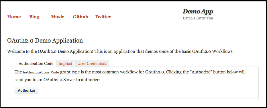 Demo Application Homepage