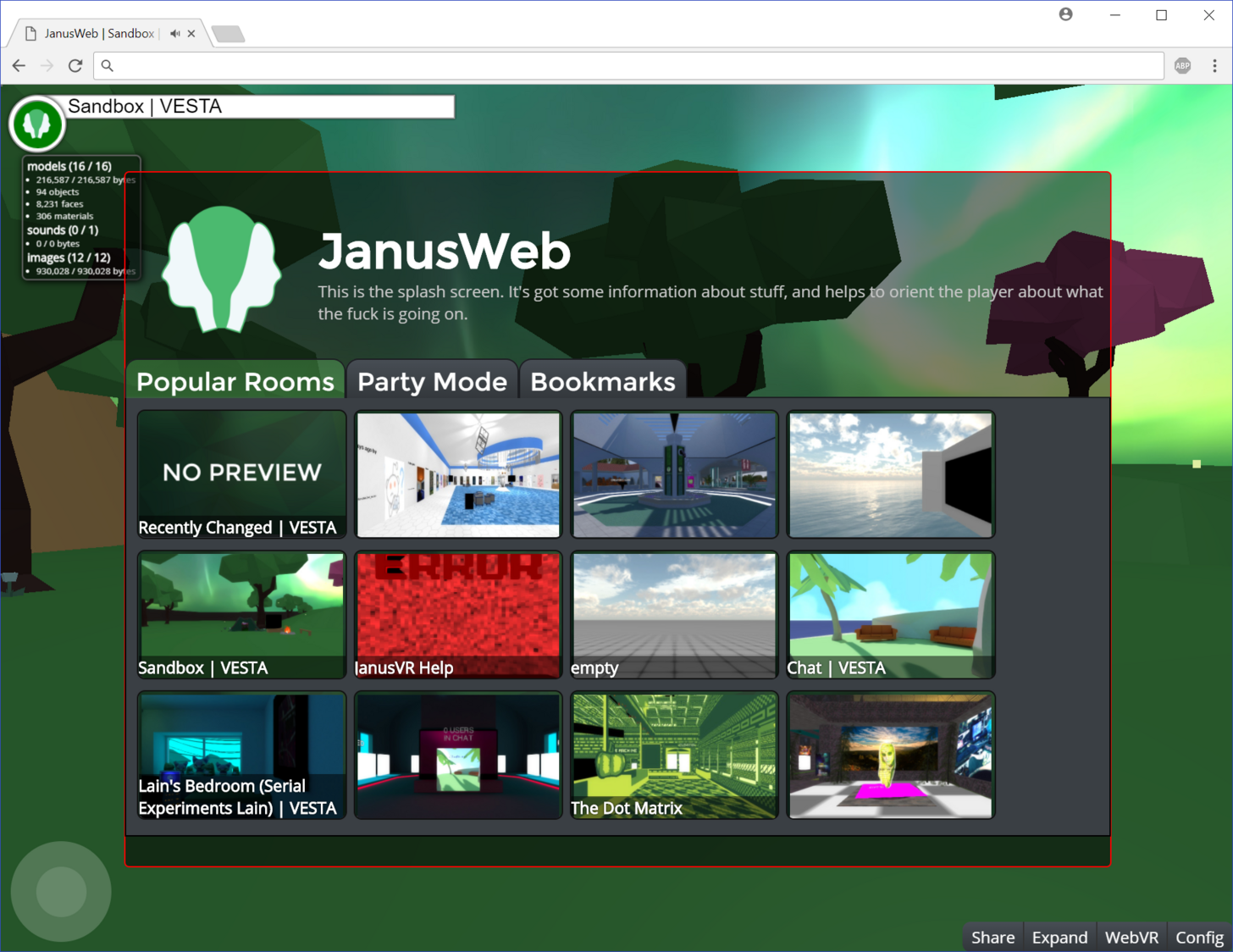 Splash menu in Janusweb