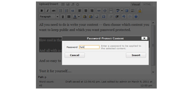 Password protecting selection