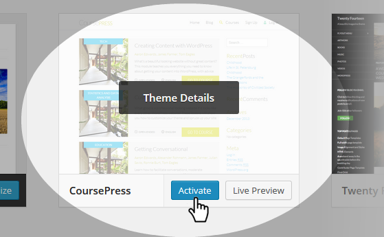 CoursePress - theme selection