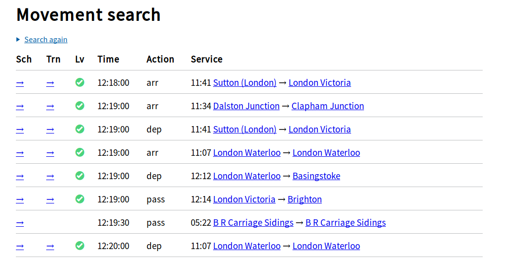 movement search interface