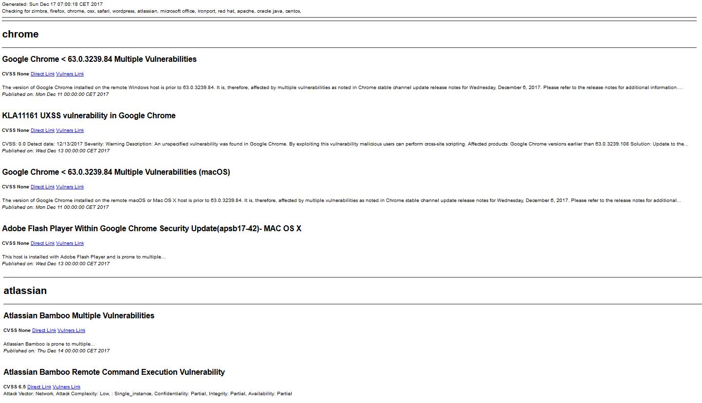 screenshot of report