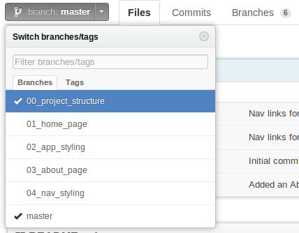 GitHub Branch Menu