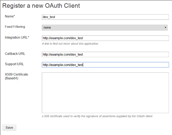 OAuth registration