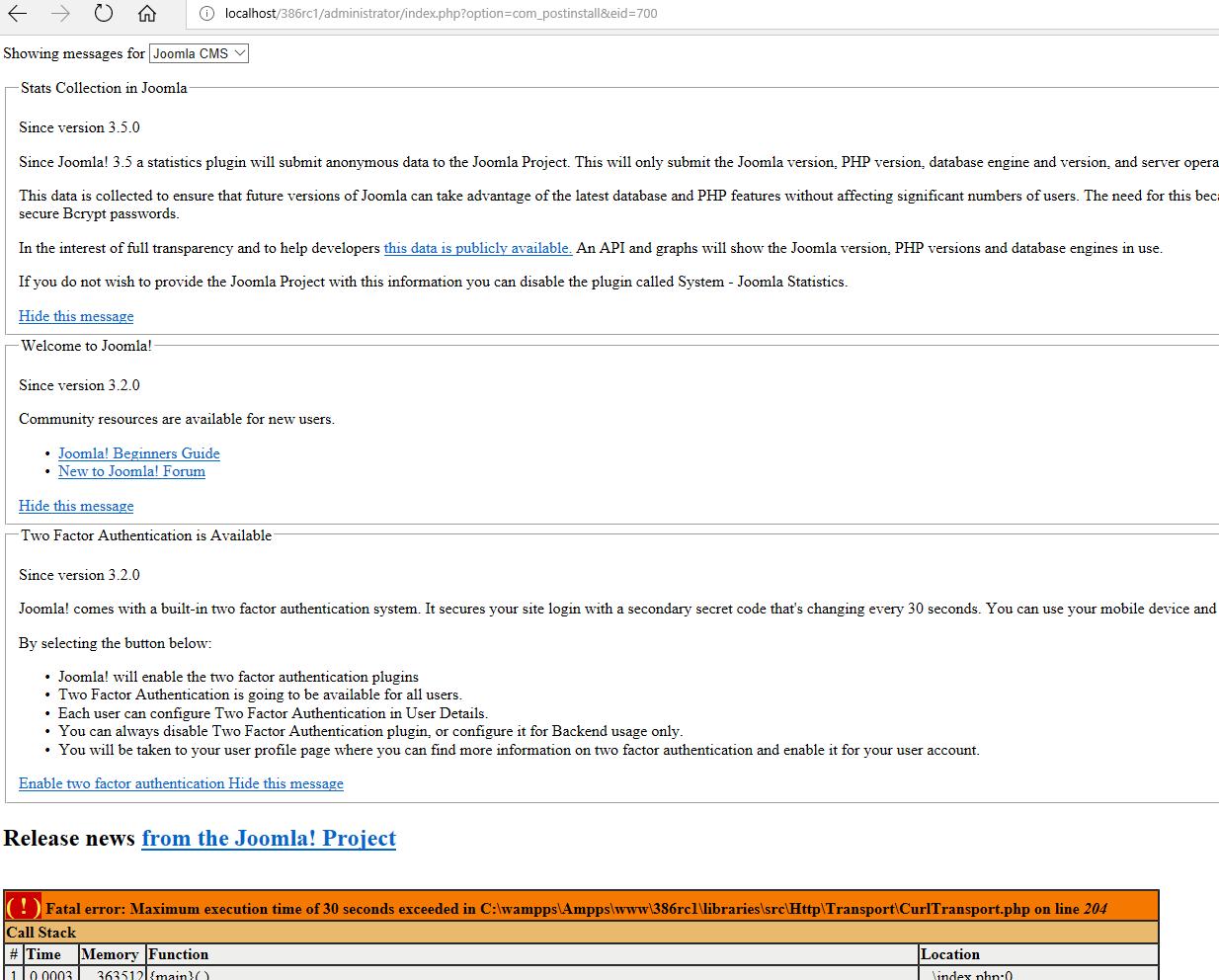 Joomla! Issue Tracker   Joomla! CMS #19832 - Postinstall messages