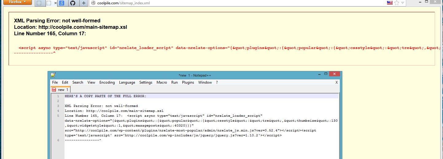 sitemap issue xml parsing error not well formed issue 235