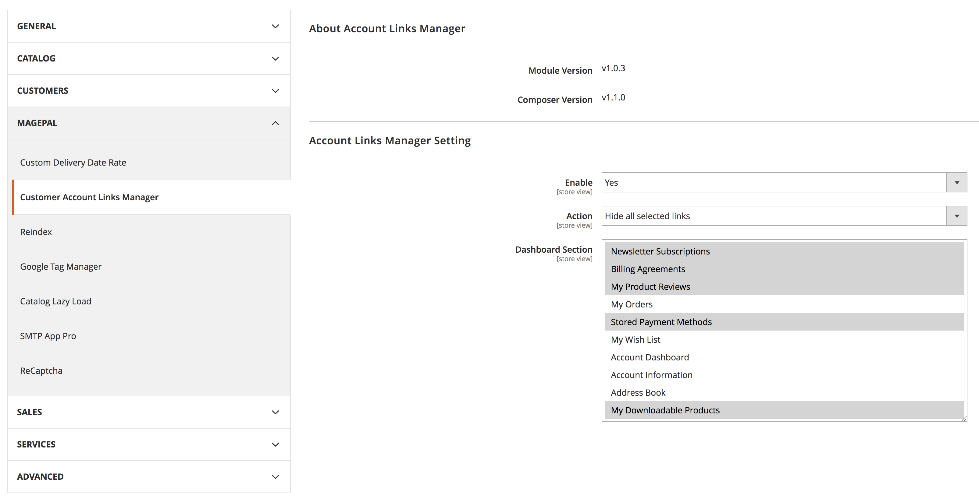 Customer Account Links Manager for Magento2