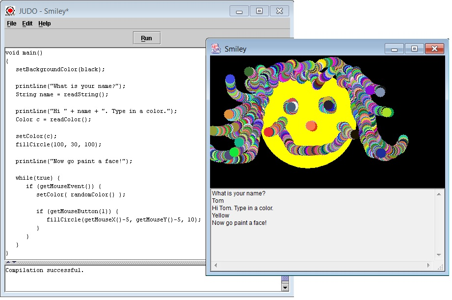JUDO program code and running program