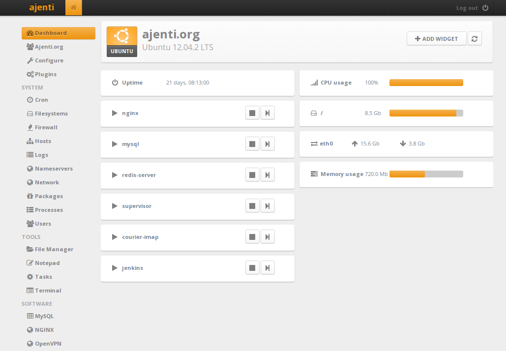 Ajenti – the web admin panel everyone wants | Never Ending