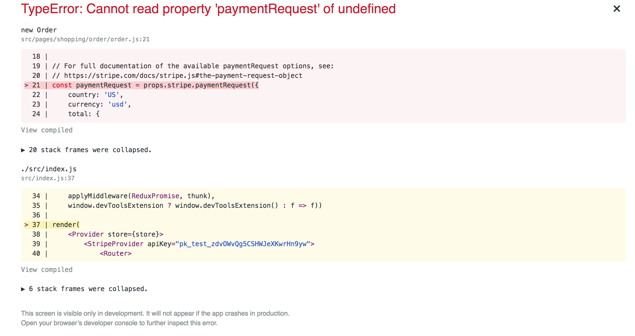 TypeError: Cannot read property 'paymentRequest' of undefined
